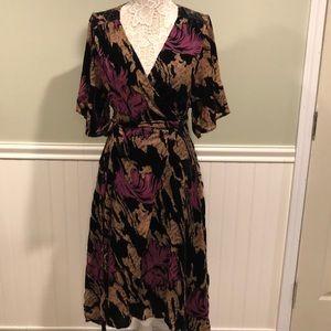 Zara Devore Burnout Velvet Floral Print Wrap Dress